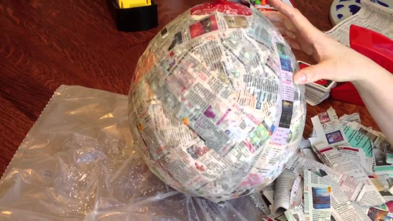 How to make a paper mache pinata party mexican birthday for What to make out of paper mache