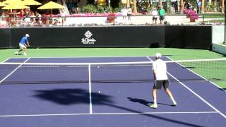 The Bryan Brothers Practice Volleys 2013 Indian Wells California
