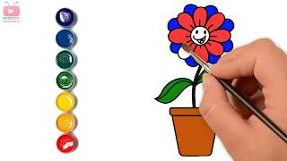 Kid Drawing and coloring Flower  Pot video colors for kids  esl  for kindergarten  toy  3d