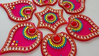 Innovative rangoli art on cd diwali decoration idea cd craft - Diy Easy Kundan Rangoli Design On Ohp Sheet How To Make