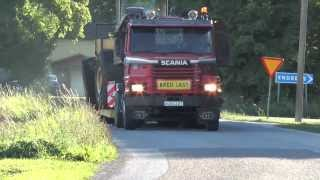 Scania 142H pulling a trailer with Volvo BM LM 1641 wheel loader 2013