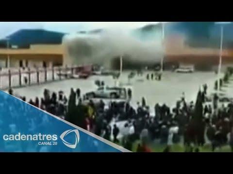 Incendian tienda de conveniencia en Chiapas durante manifestación