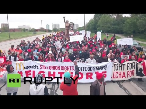#FIGHTFor15: Thousands of McDonald's employees march for higher wages