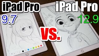 iPad Pro 9.7 vs 12.9 - Apple Pencil DRAWING COMPARISON|Which is Better?!