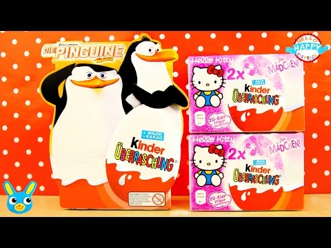 Kinder SURPRISE EGGS Penguins of Madagascar and HELLO KITTY Toy Unwrapping