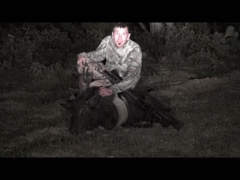 Feral Hog Hunting Texas. Double Tap! Big Wild Boar Down!