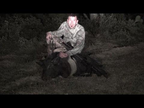 Feral Hog Hunting Texas, Double Tap! Big Wild Boar Down!