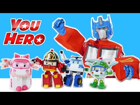 Superhero Optimus Prime vs Robocar Poli! TRANSFORMERS videos for kids! Трансформеры приколы видео