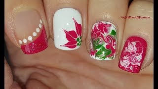 4 CHRISTMAS NAIL ART DESIGNS #3 / Dry Marble Nails / LifeWorldWomen