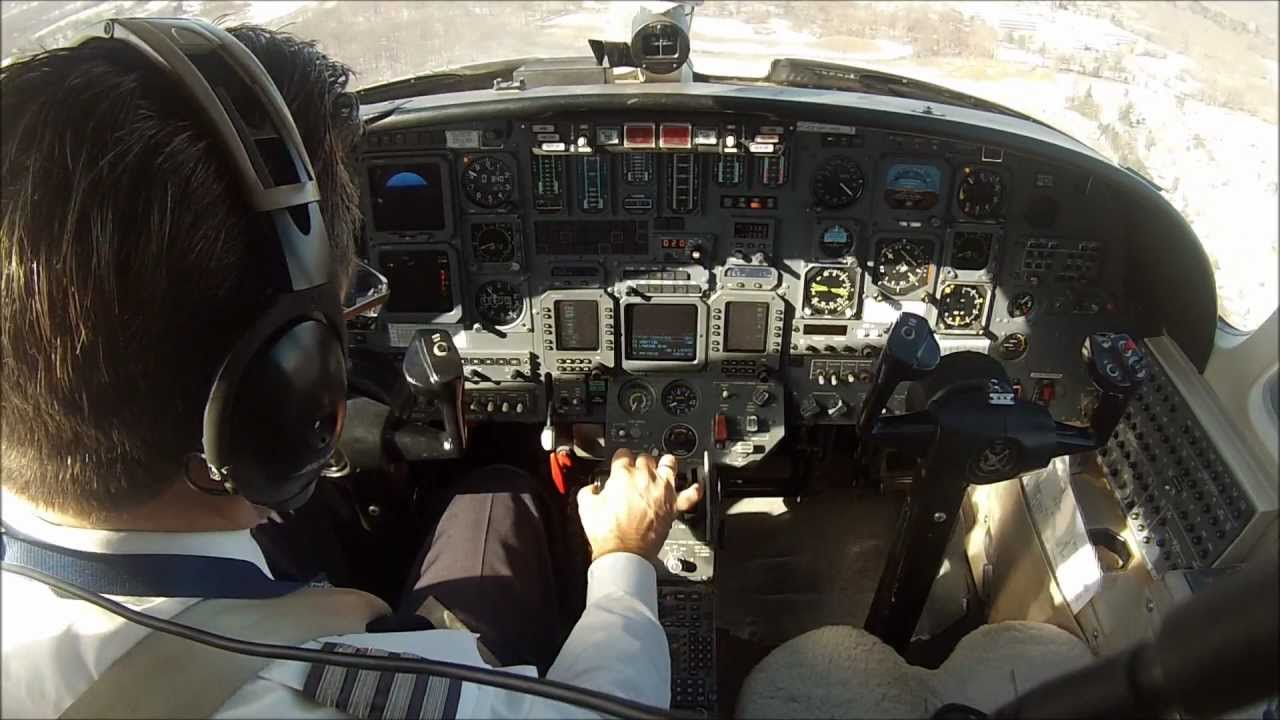 Single pilot flight in a Citation V jet. Cockpit view with ...