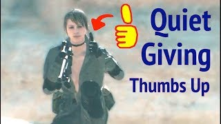 Quiet Giving Thumbs Up in Metal Gear Solid V: Phantom Pain (MGS5)