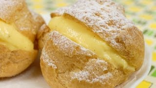 Cream Puffs with Custard Filling Recipe (Crispy Choux Créme with Pastry Cream) | Cooking with Dog