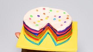 Hướng dẫn bé làm bánh kem nhiều màu bằng đất sét Play Doh - How to make a rainbow cake from Play Doh