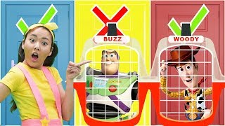 Ellie Saves Toy Story 4 From Toy Jail Don't Choose the Wrong Door!   Toy Game Show