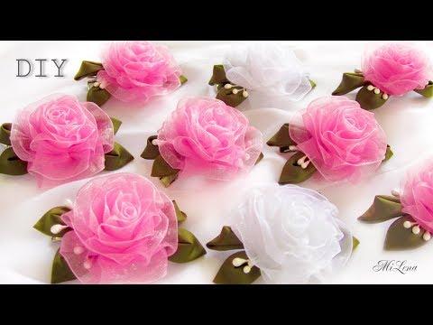 Как из органзы сделать розы своими руками из 25