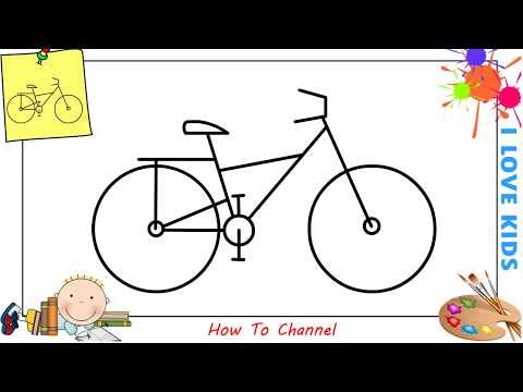 How to draw a bike EASY step by step for kids, beginners, children 5