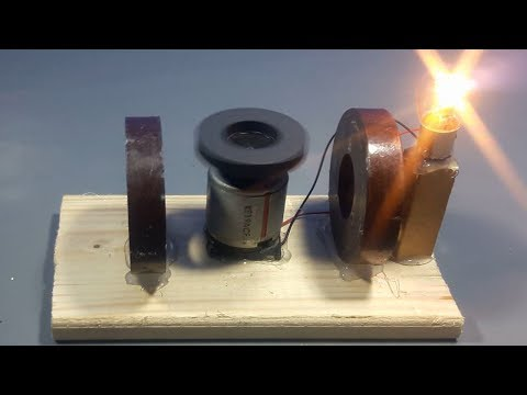 free energy light bulb generator with magnet and dc motor | science projects thumbnail