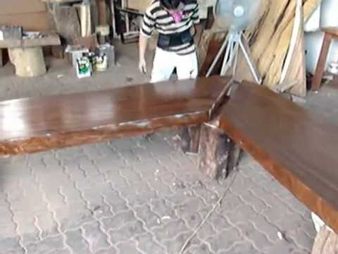Solid acacia wood slab dining and bar table top reclaimed for How to finish a wood slab
