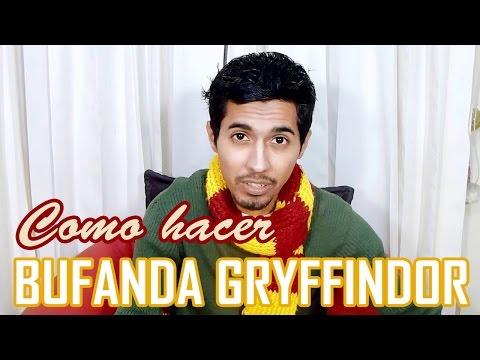 Cómo hacer Bufanda Gryffindor / Harry Potter / Dos colores horizontal DIY