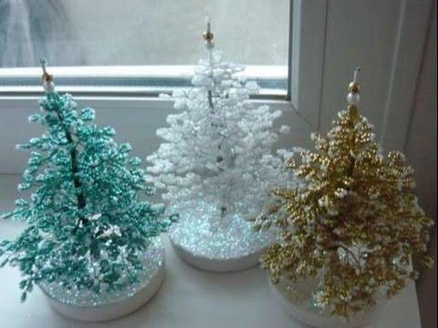 Подснежник из бисера.  Часть 3/3.  Бисер с Анной.  Beaded flowers.  Как сплести Новогоднюю елку из бисера Мастер...