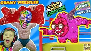 GUMMY WRESTLER Fights GIANT GUMMY BEAR & Kid Eats It!  Nerds Monster Battle (FGTEEV Launcha Libre)