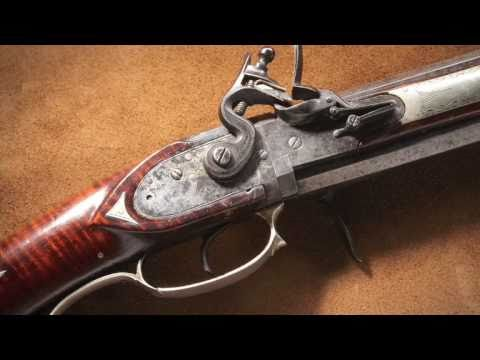 Double barrel flintlock Kentucky long rifle.  A National Firearms Museum Treasure Gun.