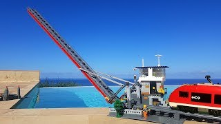 Working Lego train drawbridge over the pool