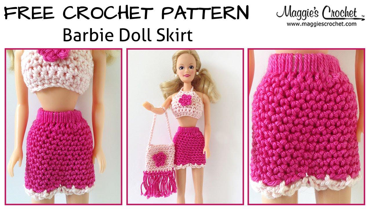 Doll Skirt Free Crochet Pattern - Right Handed - YouTube