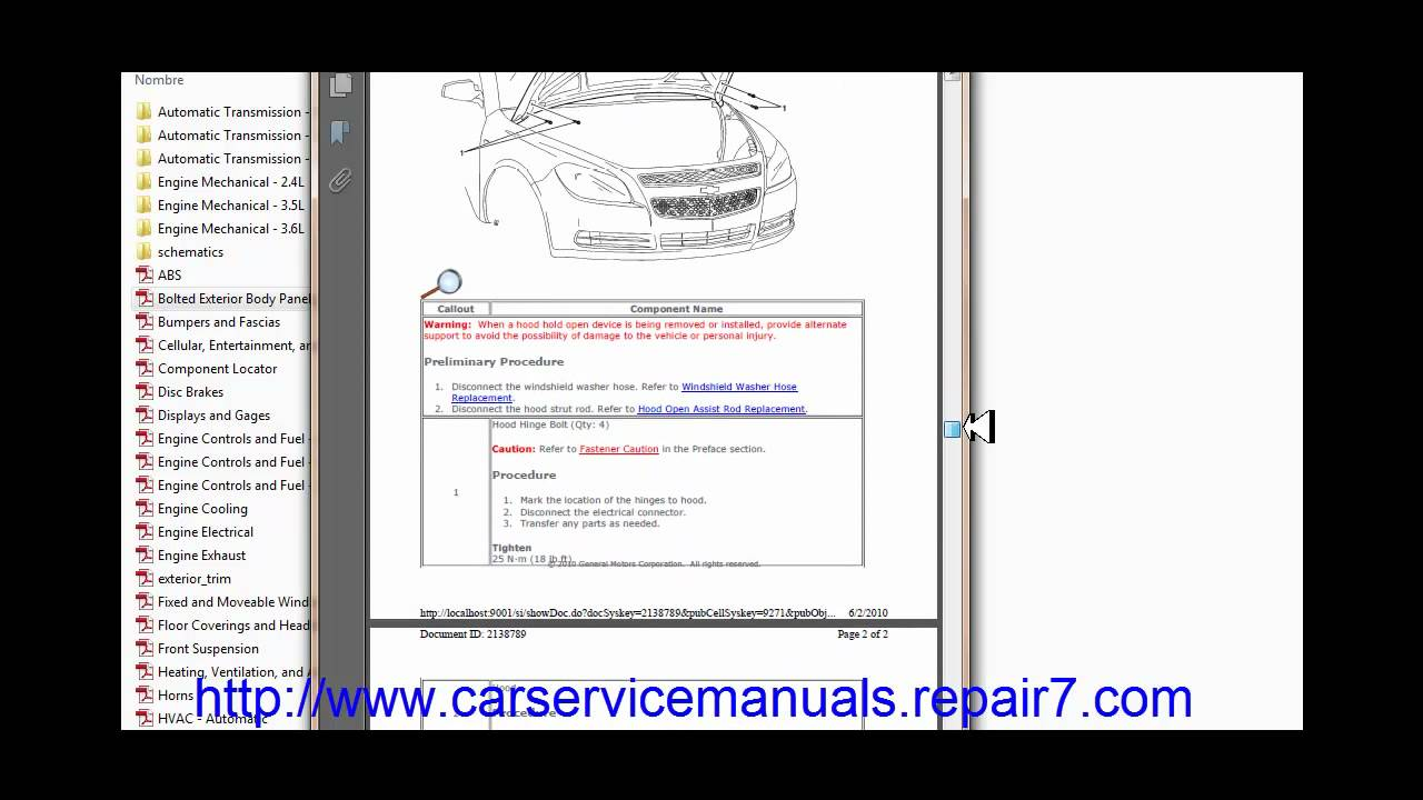 chevrolet malibu    factory service manual