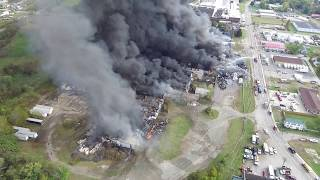 Former Ames Tool Plant fire - Parkersburg, WV - Drone footage - 10/21/2017