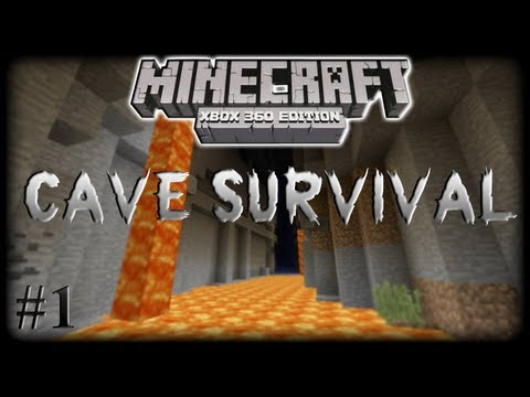 Minecraft Xbox360: Cave Survival Part 1 Monsters Nearby