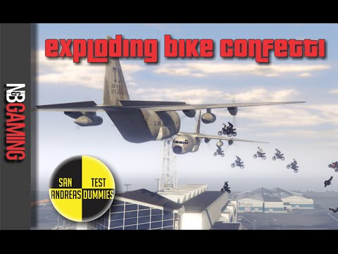 GTA5 Exploding Bike Confetti Stunt - San Andreas Test Dummies Ep. 48 - GTA5 Funny Moments and Stunts