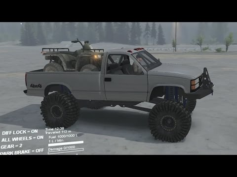 Spintires Mod Review - Brute 1999 GMC Toy - Quad Towing WIN!!!