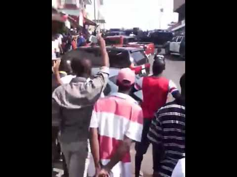 Liberia National Police Chief Chris Massaquoi, in a fight with EPS guy