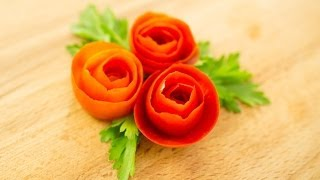 How To Make Tomato Rose Garnish