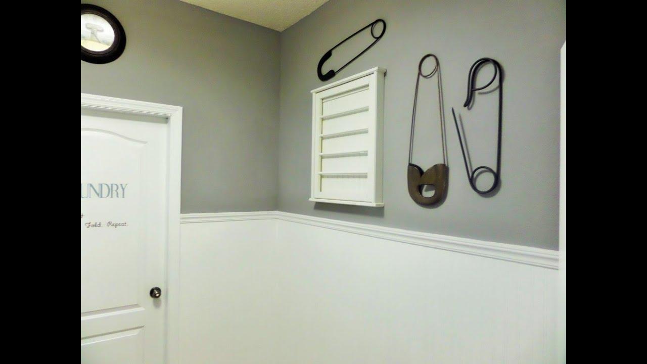 Diy Laundry Room Makeover Beadboard Paintable Wallpaper