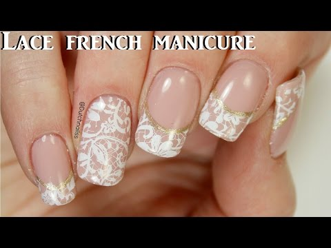 #190 ~Lace french manicure   Yours cosmetics stamping plate   Dutchnailss ~