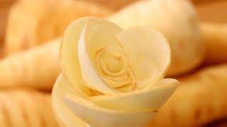 Parsnip Rose Flower   Fruit Carving Garnish   Party Garnishing   Food Decoration