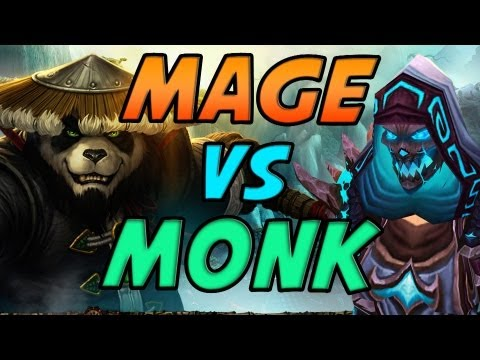 Fire Mage vs Monk Duels Mists of Pandaria PvP Gameplay / Commentary