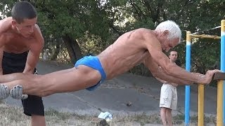Super Strong 73 Year Old ( Street Workout old man )