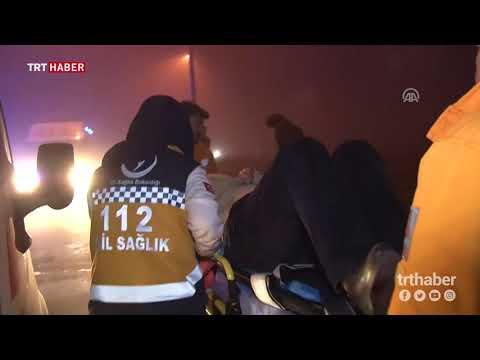 Konya'da yolcu otobüsü refüje devrildi