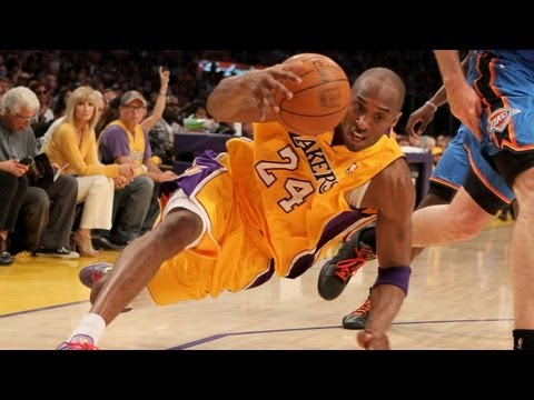 Kobe slips & slides his way to the hoop!