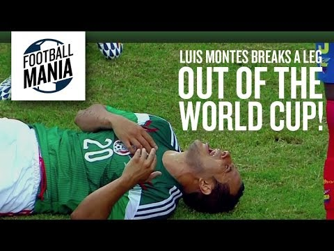 Luis Montes (Mexico) Out of the World Cup after breaking a leg! - 2014 FIFA Friendly