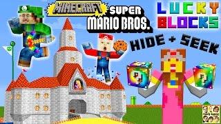 Mario, Luigi en Princess Peach te spelen Minecraft! Lucky block verstoppertje Fgteev uitdaging!