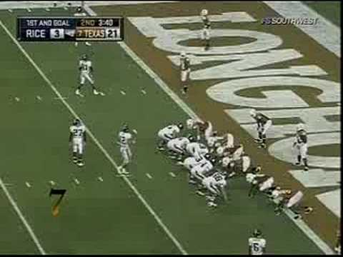 Epic Texas Longhorn Defensive Goal Line Stand vs. Rice! Video