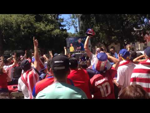 Fans Celebrating Clint Dempsey's Goal: World Cup 2014 USA v Ghana 1-0