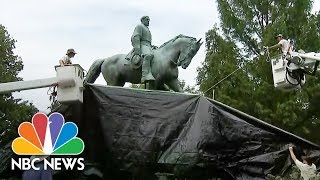 Robert E. Lee Statue Covered In Charlottesville | NBC News