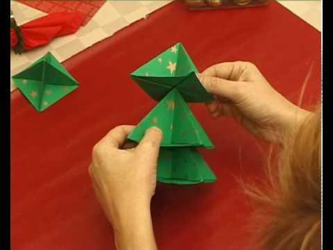 Papír karácsonyfa hajtogatás, origami