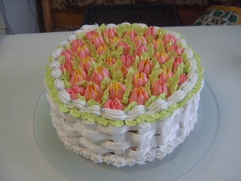 Кремовый торт Полянка тюльпанов