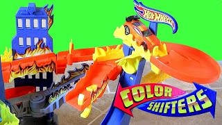 Color Changers Flame Fighters Playset Hot Wheels Track Stunt Dunk Tank Launcher Color Shifters Cars